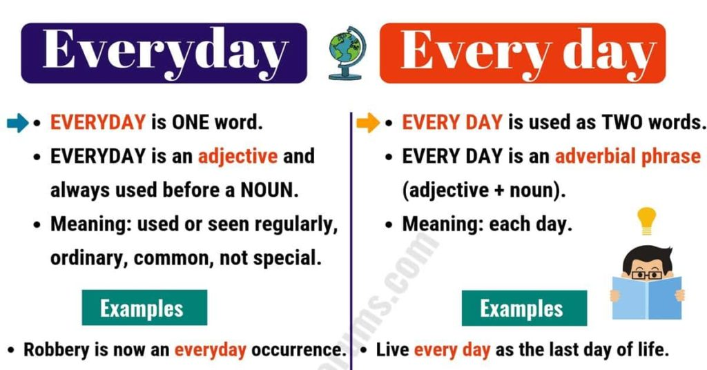 Difference Between Everyday and Every Day – Engleze.com